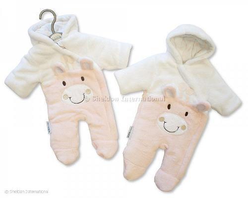 Gefütterter Baby Schneeanzug - Giraffe - Rosa