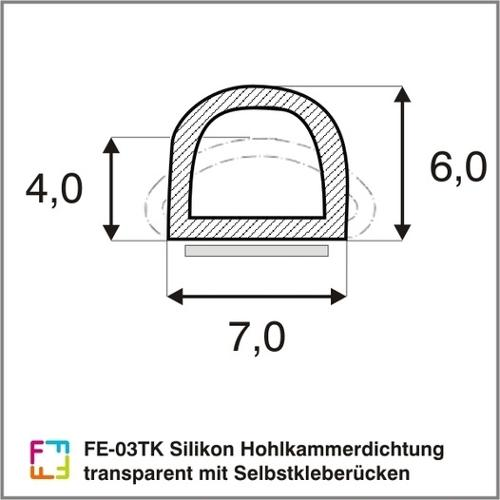 FE-03TK silicone hollow chamber seal transparent