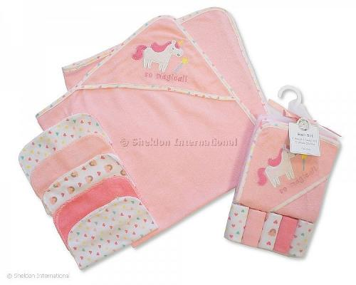 Baby Hooded Towel and Wash Cloth Set - Pink