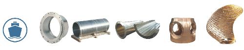Flange liner, bearing housing, propulsion shaft liner, hubs