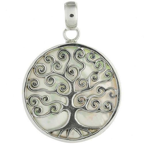 Ciondolo d'Argento 925 e Madreperla L'albero Della Vita