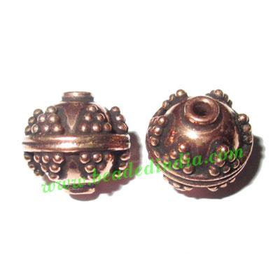 Copper Metal Beads, size: 12x12.5mm, weight: 2.76 grams.