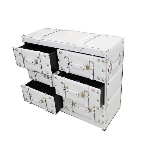 Coffre Design Avec 6 Tiroirs En Bois Et Simili-cuir 11b544