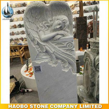 Carved Weeping Angel Headstone With White Marble