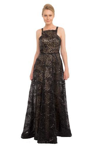 bd1e9e32b3925 Pierre Cardin Siyah Payet İşlemeli Uzun Abiye Elbise
