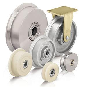 Flanged wheels and castors