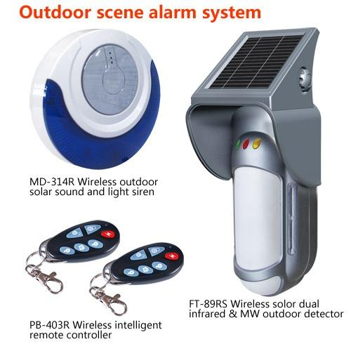 Outdoor burglar alarm solar wireless intruder detector