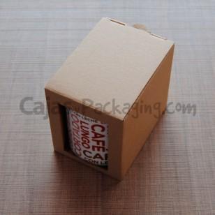 Caja para taza con ventana frontal.