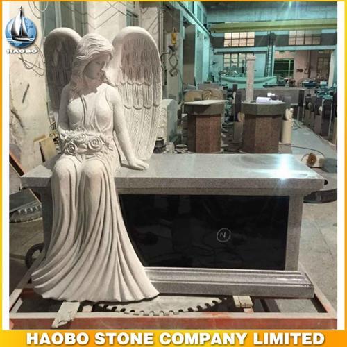 Special Grey Granite Angel Bench Headstone Columbarium