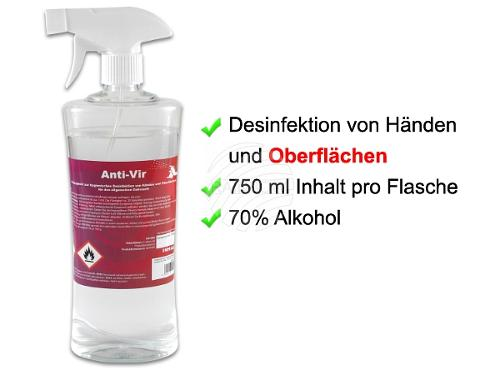 Desinfektionsmittel Sprühflasche 750 ml ca. 70% Alkohol