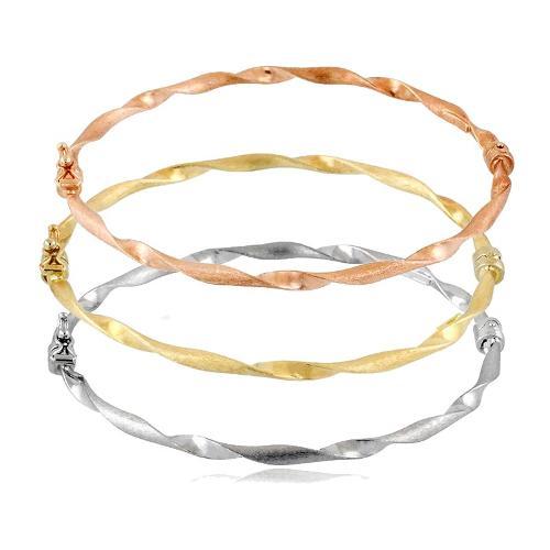 Tris di bracciale rigido in oro bianco, giallo e rosa