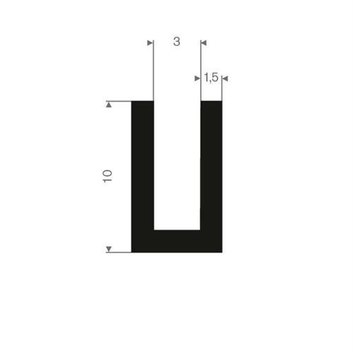 Vollgummi U-Profil 3mm / BxH= 6x10mm