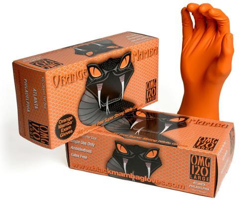 Gants de travail en Nitrile Orange Mamba