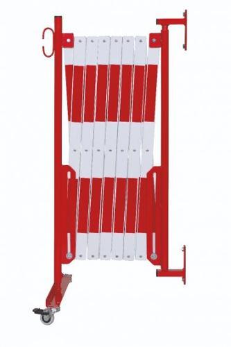 Barrière Extensible Rouge-blanc 4m Avec Pieds Et Fixation Mural