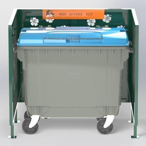 Cache Poubelle Conteneur Hibiscus En U Recyclage Reste