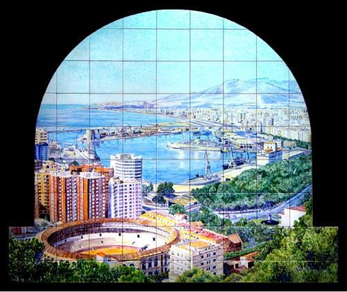 Vista de Málaga desde Gibralfaro en azulejos