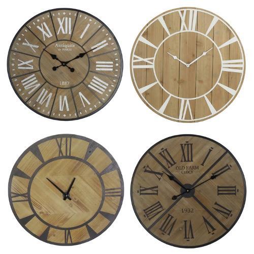 Wood Clock Dial With Twelve Roman Numerals Black Hands
