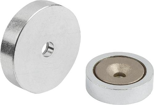 Shallow Pot Magnets With Countersink Smco