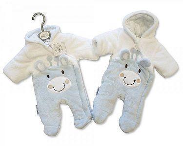 Gefütterter Baby Schneeanzug - Giraffe - Hellblau