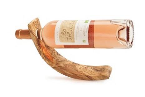 Support bouteille en bois d'olivier