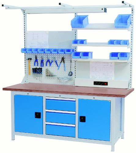 Workbench series 2000 with 3 drawers and 2 hinged doors
