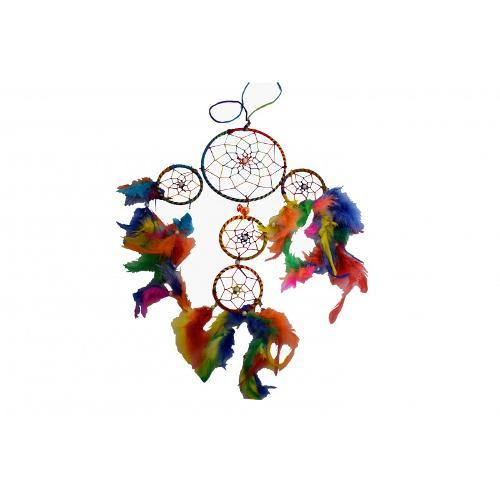 """Atrapasueños 5 Aros Multicolor 15-8cmø 6"""""""