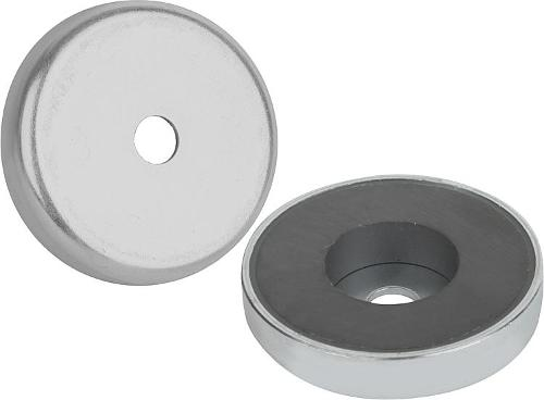 Magnets Shallow Pot With Counterbore Hard Ferrite