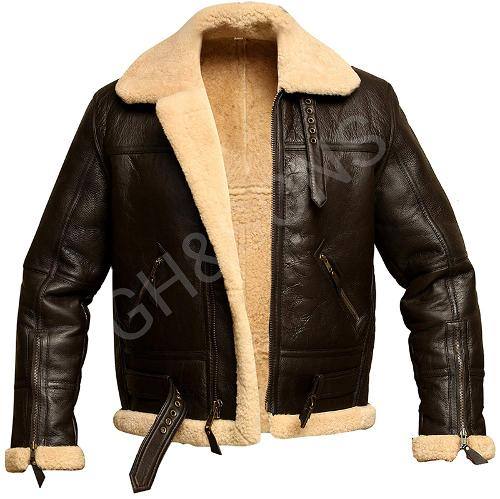 Men Bomber Shearling Real Sheepskin Leather Jacket