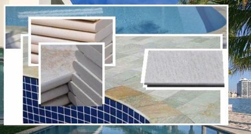 Borda para piscina quartzito branco