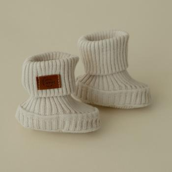Cotton knitted booties Baked milk