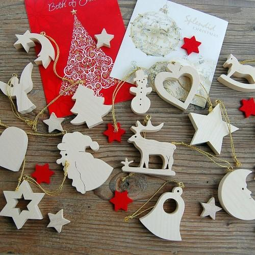 Christmas Tree Decorations - 14pcs Set Maple Wood