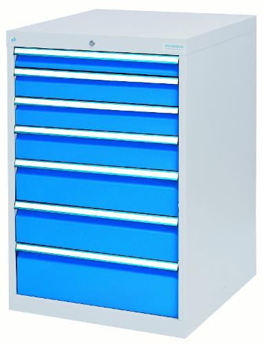 Drawer cabinet with 7 drawers, different front heights