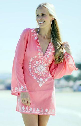 100% cotton embroidered Beachwear Kaftan