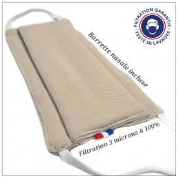 Masque Tissu Dga 50 Lavages Beige (Préconisation Afnor)