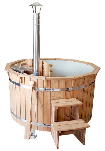 Plastic wooden hot tub