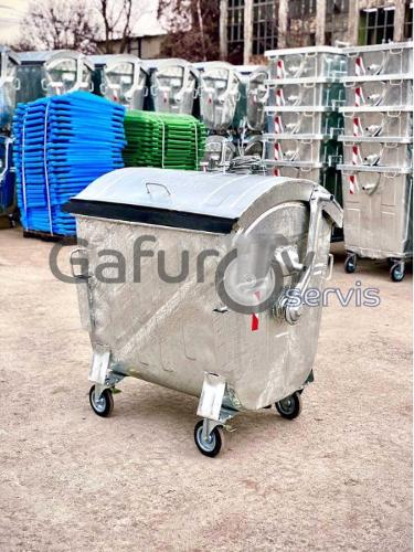 Metal waste container with round lid - 1100 L.