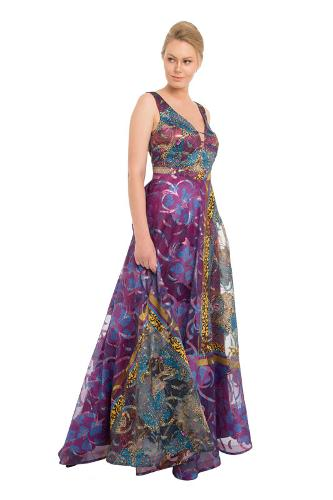 9e9dbf24f2f1f Pierre Cardin Somon Jakar Desenli Uzun Abiye Elbise, %100 Polyester ...