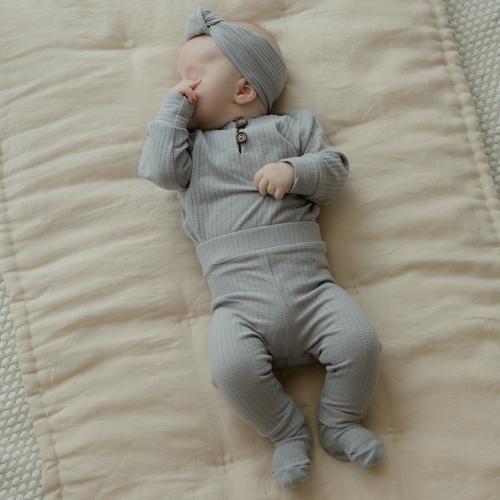 Cotton Ribbed Pants Gray