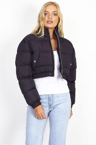 BLACK FUNNEL NECK PADDED PUFFER JACKET