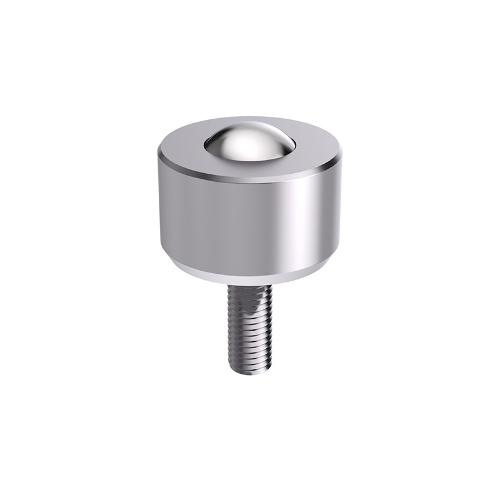 Solid ball caster MINI without collar,threaded pin, cylindrical