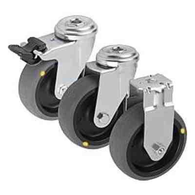 Roulette pivotante ou fixe conductrice d'électricité,...