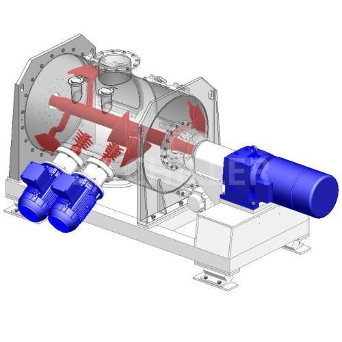 Mezclador horizontal de turbulencia