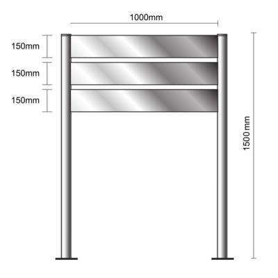 Bi-Mât aluminium anodisé H1500x1000- 3 lattes