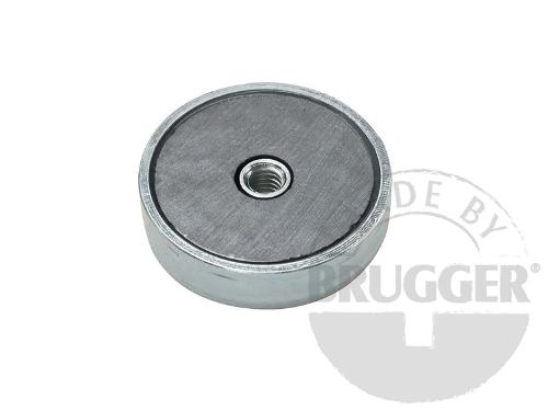 Flat pot magnets hard ferrite, with internal thread