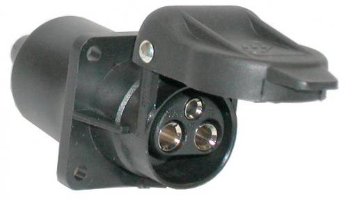 Socket 3-pol.12V/4-hole-flat pin