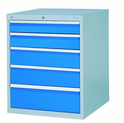 Drawer cabinet with 5 drawers, different front heights