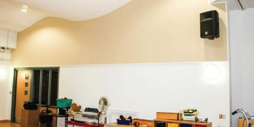 Sound absorbing panel system for high frequencies