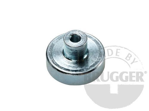 Flat pot magnets NdFeB, with screwed bush, galvanized