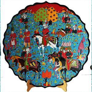 Minyatür Türk çini sanatı desenli tabak çalışması