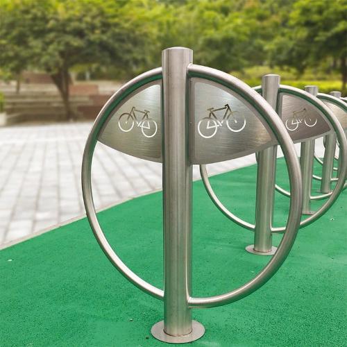 Arceau vélo inox rond avec picto cycle